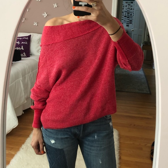 Free People Sweaters Pink Off The Shoulder Sweater Poshmark